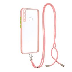 Necklace Cross-body Lanyard Strap Cord Phone Case Cover for Huawei Y7p - Pink
