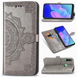 Embossing Imprint Mandala Flower Leather Wallet Case for Huawei Y7p - Gray