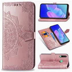 Embossing Imprint Mandala Flower Leather Wallet Case for Huawei Y7p - Rose Gold