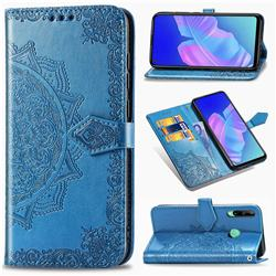 Embossing Imprint Mandala Flower Leather Wallet Case for Huawei Y7p - Blue