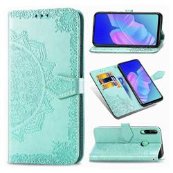 Embossing Imprint Mandala Flower Leather Wallet Case for Huawei Y7p - Green