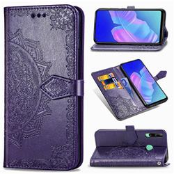 Embossing Imprint Mandala Flower Leather Wallet Case for Huawei Y7p - Purple