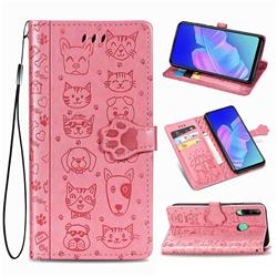 Embossing Dog Paw Kitten and Puppy Leather Wallet Case for Huawei Y7p - Pink
