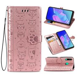 Embossing Dog Paw Kitten and Puppy Leather Wallet Case for Huawei Y7p - Rose Gold