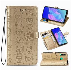 Embossing Dog Paw Kitten and Puppy Leather Wallet Case for Huawei Y7p - Champagne Gold