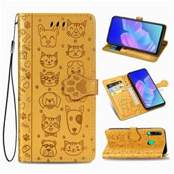 Embossing Dog Paw Kitten and Puppy Leather Wallet Case for Huawei Y7p - Yellow