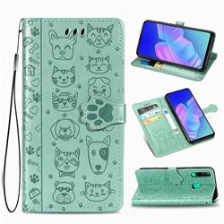 Embossing Dog Paw Kitten and Puppy Leather Wallet Case for Huawei Y7p - Green