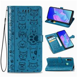 Embossing Dog Paw Kitten and Puppy Leather Wallet Case for Huawei Y7p - Blue