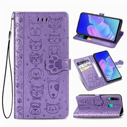 Embossing Dog Paw Kitten and Puppy Leather Wallet Case for Huawei Y7p - Purple