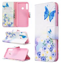 Butterflies Flowers Leather Wallet Case for Huawei Y7p