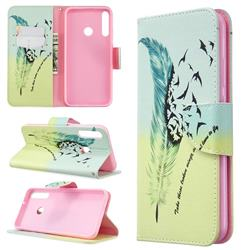 Feather Bird Leather Wallet Case for Huawei Y7p