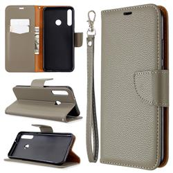 Classic Luxury Litchi Leather Phone Wallet Case for Huawei Y7p - Gray