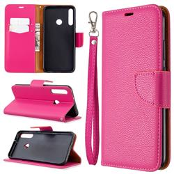 Classic Luxury Litchi Leather Phone Wallet Case for Huawei Y7p - Rose