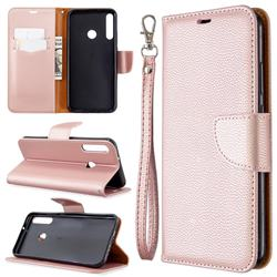 Classic Luxury Litchi Leather Phone Wallet Case for Huawei Y7p - Golden