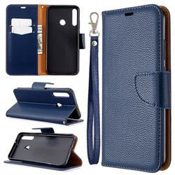 Classic Luxury Litchi Leather Phone Wallet Case for Huawei Y7p - Blue