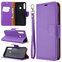 Classic Luxury Litchi Leather Phone Wallet Case for Huawei Y7p - Purple