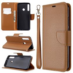 Classic Luxury Litchi Leather Phone Wallet Case for Huawei Y7p - Brown