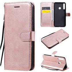 Retro Greek Classic Smooth PU Leather Wallet Phone Case for Huawei Y7p - Rose Gold