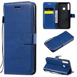 Retro Greek Classic Smooth PU Leather Wallet Phone Case for Huawei Y7p - Blue