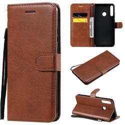 Retro Greek Classic Smooth PU Leather Wallet Phone Case for Huawei Y7p - Brown