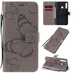 Embossing 3D Butterfly Leather Wallet Case for Huawei Y7p - Gray