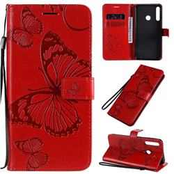 Embossing 3D Butterfly Leather Wallet Case for Huawei Y7p - Red