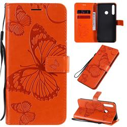 Embossing 3D Butterfly Leather Wallet Case for Huawei Y7p - Orange