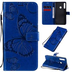 Embossing 3D Butterfly Leather Wallet Case for Huawei Y7p - Blue
