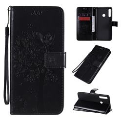 Embossing Butterfly Tree Leather Wallet Case for Huawei Y7p - Black
