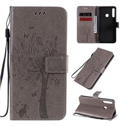 Embossing Butterfly Tree Leather Wallet Case for Huawei Y7p - Grey