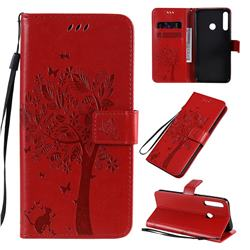 Embossing Butterfly Tree Leather Wallet Case for Huawei Y7p - Red