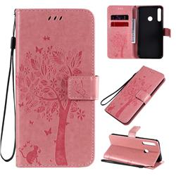 Embossing Butterfly Tree Leather Wallet Case for Huawei Y7p - Pink
