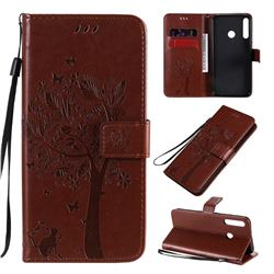 Embossing Butterfly Tree Leather Wallet Case for Huawei Y7p - Coffee