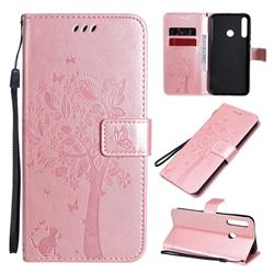 Embossing Butterfly Tree Leather Wallet Case for Huawei Y7p - Rose Pink