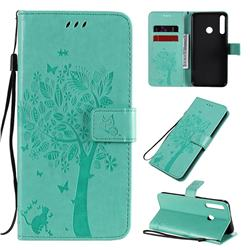 Embossing Butterfly Tree Leather Wallet Case for Huawei Y7p - Cyan