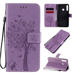 Embossing Butterfly Tree Leather Wallet Case for Huawei Y7p - Violet