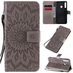 Embossing Sunflower Leather Wallet Case for Huawei Y7p - Gray