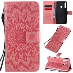 Embossing Sunflower Leather Wallet Case for Huawei Y7p - Pink