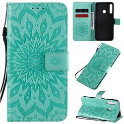 Embossing Sunflower Leather Wallet Case for Huawei Y7p - Green