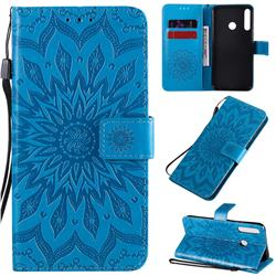 Embossing Sunflower Leather Wallet Case for Huawei Y7p - Blue