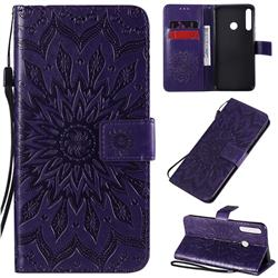 Embossing Sunflower Leather Wallet Case for Huawei Y7p - Purple