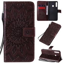Embossing Sunflower Leather Wallet Case for Huawei Y7p - Brown