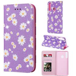 Ultra Slim Daisy Sparkle Glitter Powder Magnetic Leather Wallet Case for Huawei Y7p - Purple