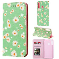 Ultra Slim Daisy Sparkle Glitter Powder Magnetic Leather Wallet Case for Huawei Y7p - Green