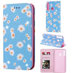 Ultra Slim Daisy Sparkle Glitter Powder Magnetic Leather Wallet Case for Huawei Y7p - Blue