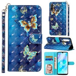 Rankine Butterfly 3D Leather Phone Holster Wallet Case for Huawei Y7p
