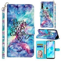 Blue Starry Sky 3D Leather Phone Holster Wallet Case for Huawei Y7p