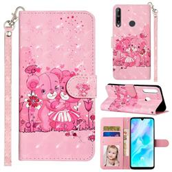 Pink Bear 3D Leather Phone Holster Wallet Case for Huawei Y7p