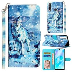 Snow Wolf 3D Leather Phone Holster Wallet Case for Huawei Y7p