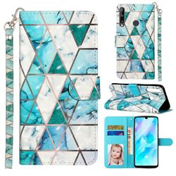 Stitching Marble 3D Leather Phone Holster Wallet Case for Huawei Y7p